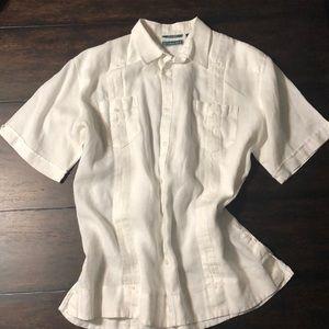 100% Linen, Cubavera Short-sleeved Men's Shirt